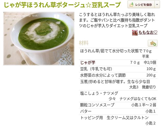 じゃがいもほうれん草スープ